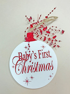 Baby's first Christmas ORNAMENT Tree Memory 1st Gift for a boy or girl, *Glitter Wood - Wooden Hearts Inc