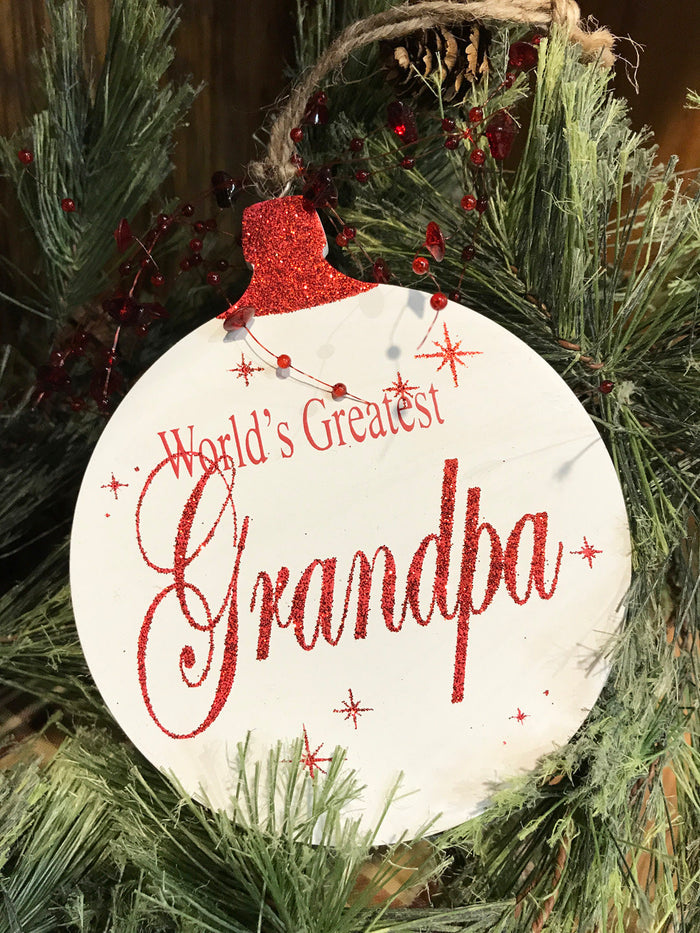 Christmas ORNAMENT World's Greatest Grandma Grandpa, Tree Memory Gift *Glitter Wood