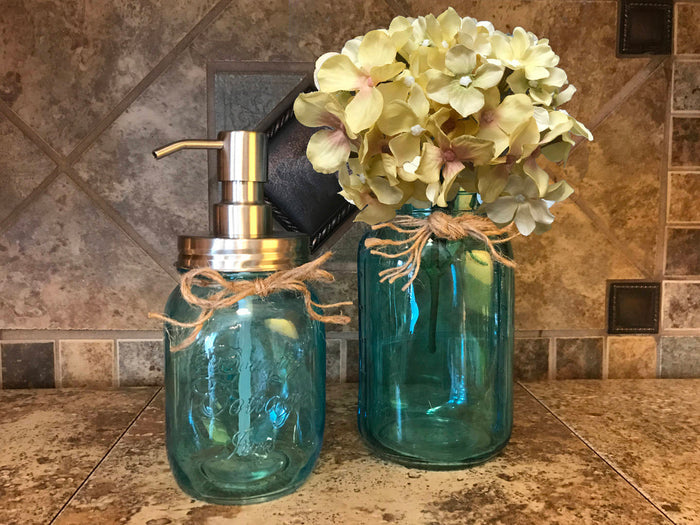 Jar Soap Dispenser + Quart SAPPHIRE Blue Vase + FLOWER *3 PIECE SET *Kitchen Bathroom