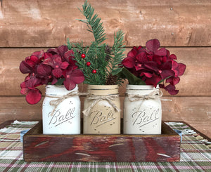 CHRISTMAS HOLIDAY 3 Pint Jar + Wood Tray Centerpiece (Florals / Flowers optional) Ball Mason - Wooden Hearts Inc