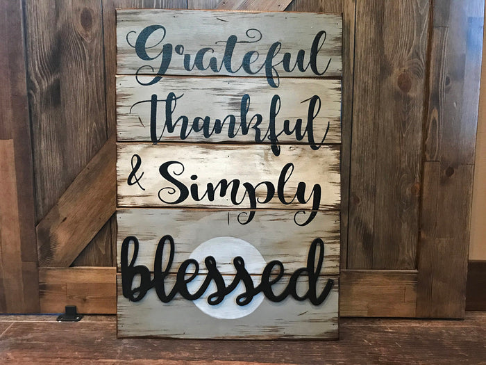 Grateful Thankful & Simply Blessed SIGN Wood Wall Decor, Living Room 16X24
