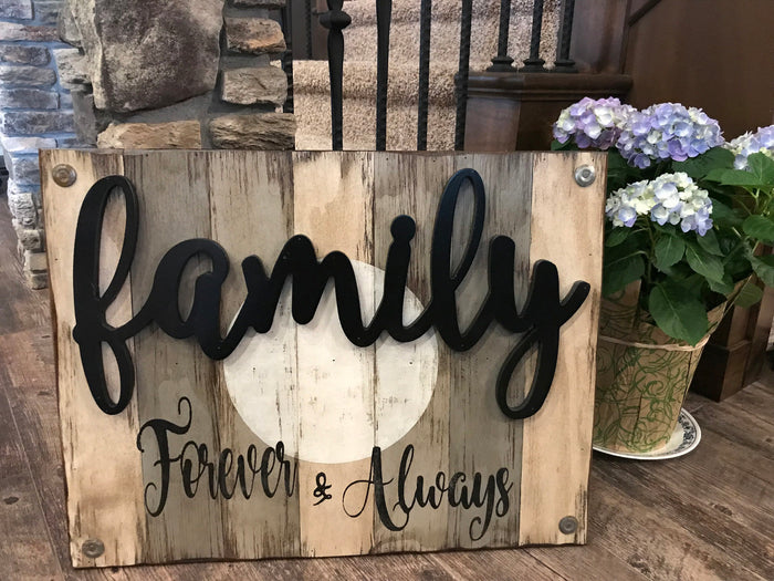 Family Forever & Always Wooden SIGN *Distressed Wood *Rustic Living Room Decor *Blue Gray 26X20