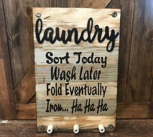 LAUNDRY Wooden SIGN with knobs *Sort Wash Fold Iron *Wood Wall Home Decor Room 16X24 - Wooden Hearts Inc