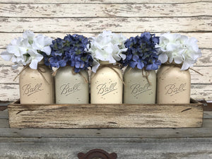 MASON Jar Centerpiece Wood TRAY + 5 Mason QUART Jars (Flowers optional) Table Decor - Wooden Hearts Inc