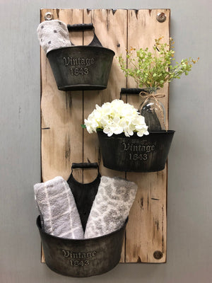 VINTAGE Wall Buckets *Bathroom Caddy *Distressed Wood *Rustic Towel Rack Storage *White 14X29 - Wooden Hearts Inc
