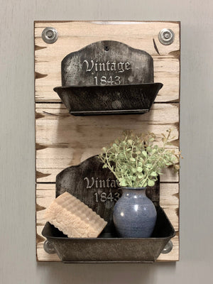 VINTAGE Wall Soap Dishes *Bathroom Shelf *Distressed Wood *Rustic Bar Storage Rack *White 15X9 - Wooden Hearts Inc