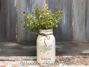 MASON Jar WEDDING Table Decor Distressed Ball QUART Painted Centerpiece (Flower Optional) - Wooden Hearts Inc
