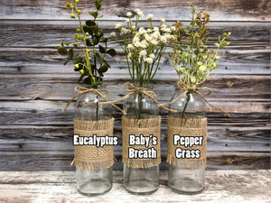 GRATEFUL Wood Box ONLY Tray table centerpiece (glass bottle jars / greenery optional) - Wooden Hearts Inc