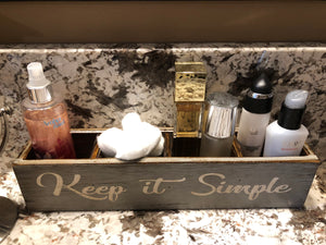 Makeup Organizer Vanity GORGEOUS, BEAUTIFUL, Keep it SIMPLE Tray Bathroom Counter - Wooden Hearts Inc