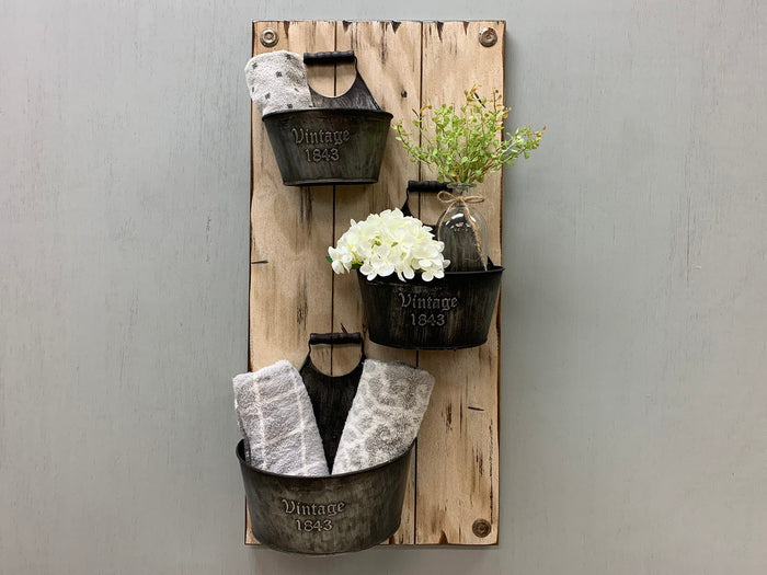VINTAGE Wall Buckets *Bathroom Caddy *Distressed Wood *Rustic Towel Rack Storage *White 14X29