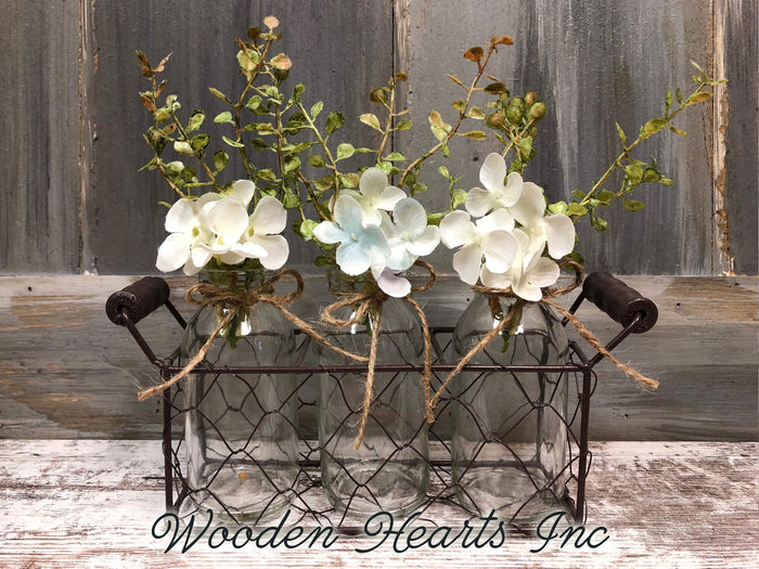 Chicken Wire Tray with 3 Glass Bottles & greenery *Farmhouse Jars Decor bathroom room bedroom