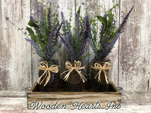 Table Decor for home *LAVENDER purple flower arrangement wood TRAY *3 pint jars *Table Centerpiece - Wooden Hearts Inc