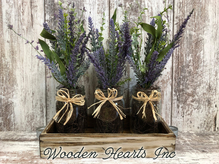 Table Decor for home *LAVENDER purple flower arrangement wood TRAY *3 pint jars *Table Centerpiece