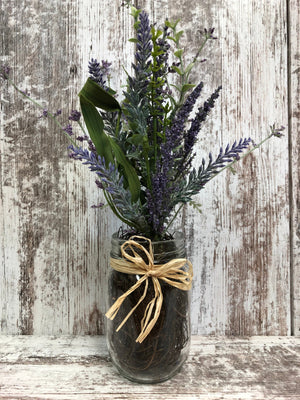 LAVENDER purple flower in jar vase *Pint canning jar *Kitchen Table Centerpiece Decor - Wooden Hearts Inc