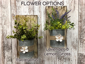 FARMHOUSE Wall Flower PLANTER *Metal bucket +greenery *Antique Distressed Rustic Wood *Lavender - Wooden Hearts Inc