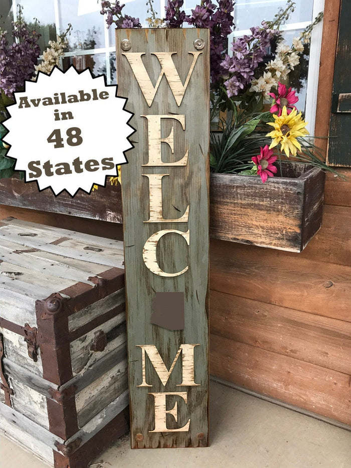 ARIZONA Sign State Home Welcome word, Rustic Distressed Wood Wall AZ 50 States