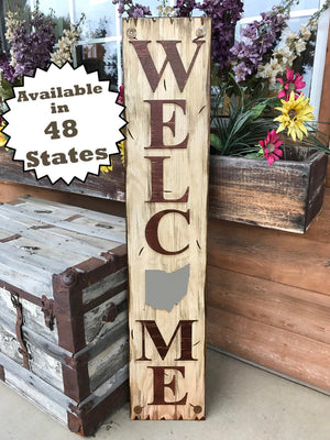 OHIO Sign  Farm Home Lake Welcome word, Rustic Distressed Wood OH 50 States - Wooden Hearts Inc