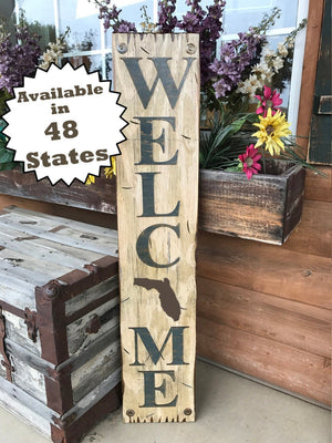 FLORIDA STATE Sign  Farm Home Lake or Welcome, Rustic Distressed Wood Wall FL 50 states - Wooden Hearts Inc