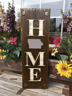 IOWA Sign State Farm Home Lake Welcome word, Rustic Distressed Wood  IA 50 States - Wooden Hearts Inc