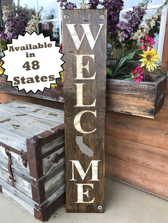 Welcome CALIFORNIA STATE Sign Farm Home Lake, Rustic Distressed Wood CA 50 states