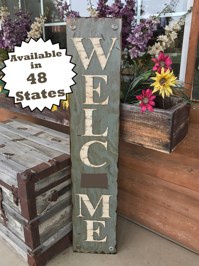 SOUTH DAKOTA STATE Sign  Farm Home Lake or Welcome, Rustic Distressed Wood 50 States Sd