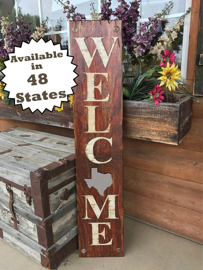TEXAS STATE Sign , Farm Home Lake or Welcome Word, Rustic Distressed Wood 50 States TX