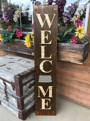 PENNSYLVANIA Sign  Farm Home Lake Welcome, Rustic Distressed Wood 50 States PA - Wooden Hearts Inc