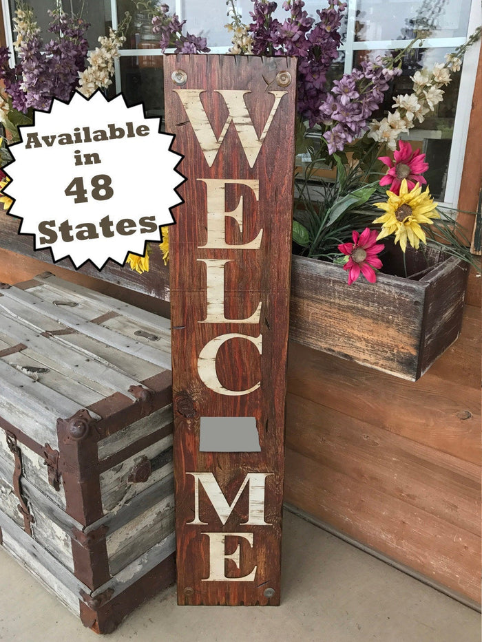 NORTH DAKOTA STATE Sign  Farm Home Lake or Welcome, Rustic Distressed Wood 50 states Nd