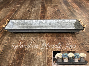 TRAY METAL Large with ROPE Handles *Farmhouse Rustic Tin Box for Kitchen Table Centerpiece - Wooden Hearts Inc