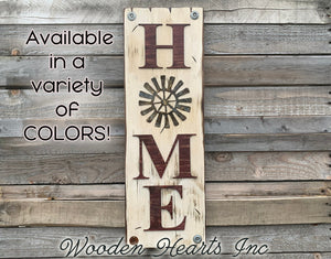 WELCOME Windmill Wall Sign  Farmhouse HOME Rustic Distressed Wood - Wooden Hearts Inc