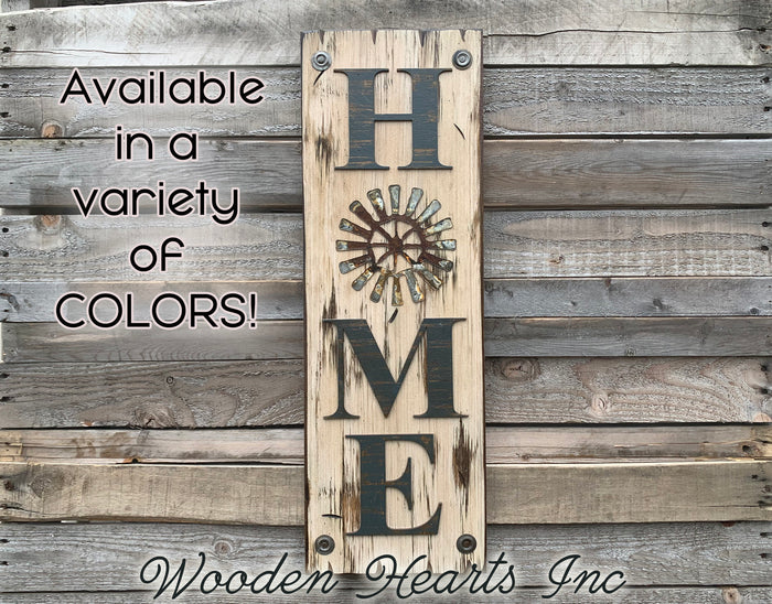 Home Welcome Windmill Wall Decor Sign  Farmhouse , Rustic Distressed Wood
