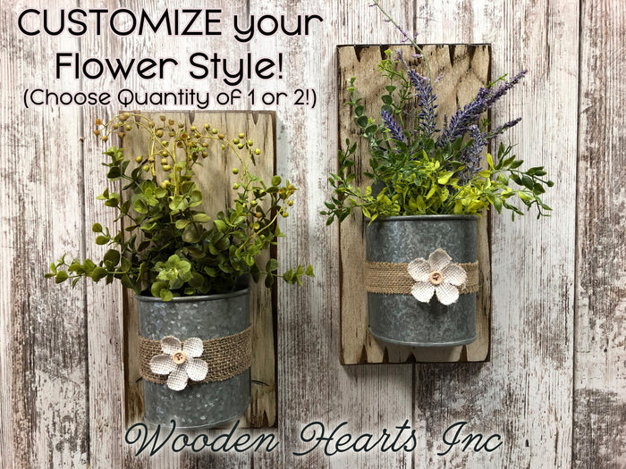 FARMHOUSE Wall Flower PLANTER *Metal bucket +greenery *Antique Distressed Rustic Wood *Lavender
