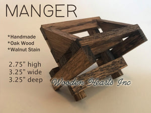 BABY MANGER -Walnut Wood -Compatible with Willow Tree Angel Nativity Pieces -Fits our STABLE Creche - Wooden Hearts Inc