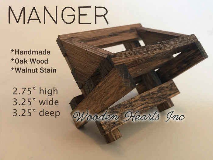 BABY MANGER -Walnut Wood -Compatible with Willow Tree Angel Nativity Pieces -Fits our STABLE Creche
