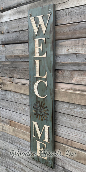 Home Welcome Windmill Wall Decor Sign  Farmhouse , Rustic Distressed Wood - Wooden Hearts Inc