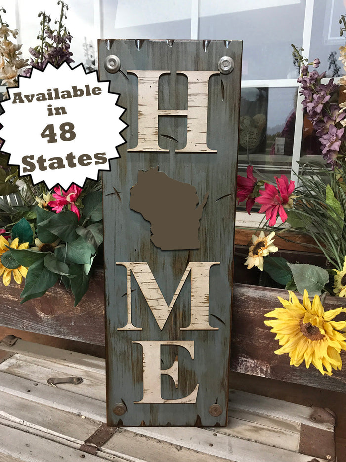 WISCONSIN Sign  Farm Home Lake Welcome word, Rustic Distressed Wood 50 States WI
