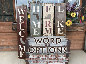 ARIZONA Sign State Home Welcome word, Rustic Distressed Wood Wall AZ 50 States - Wooden Hearts Inc