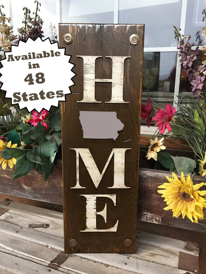 IOWA Sign State Farm Home Lake Welcome word, Rustic Distressed Wood  IA 50 States