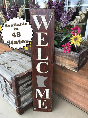MINNESOTA STATE Sign WELCOME,  Farm Home Lake , Rustic Wood *Az Nj Nc Sc Il Wa Md Ma Co Xl Large Mn - Wooden Hearts Inc