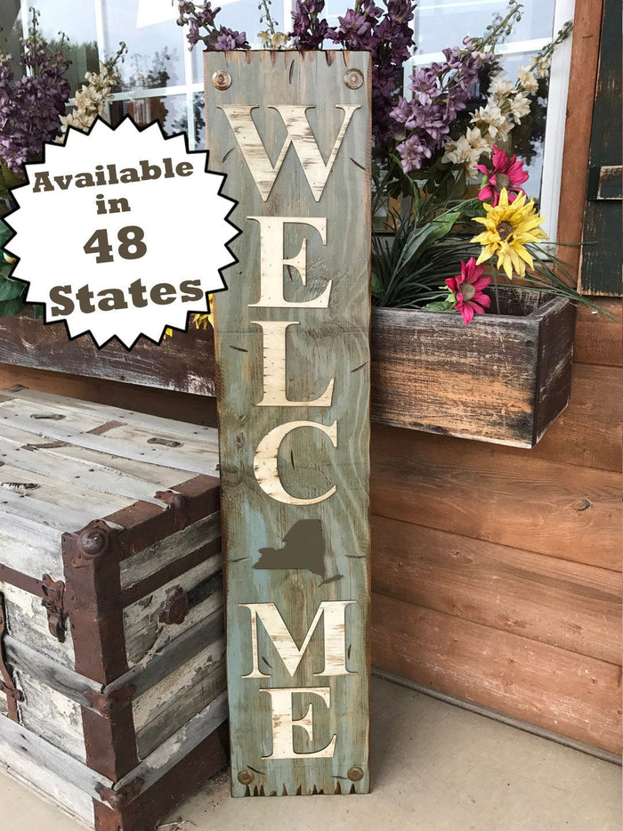 NEW YORK STATE Sign Farm Home Lake Welcome word, Rustic Distressed Wood 50 states Ny