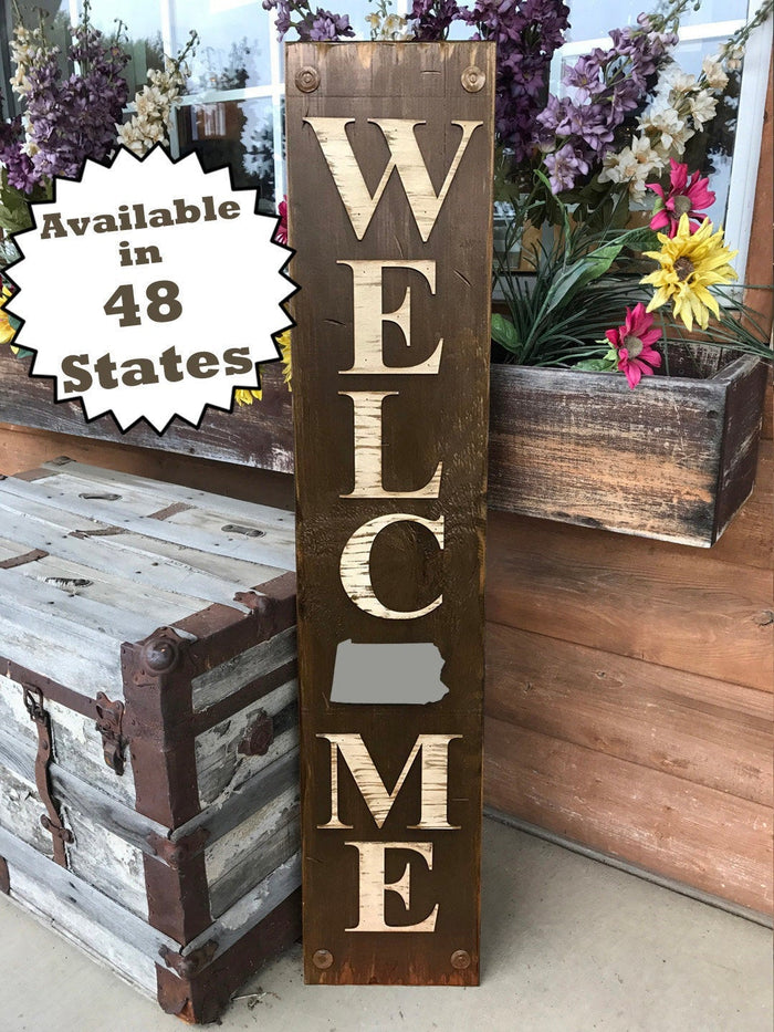 PENNSYLVANIA Sign  Farm Home Lake Welcome, Rustic Distressed Wood 50 States PA
