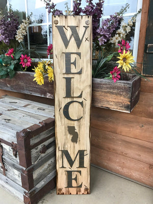 NEW NEW JERSEY Sign  Farm Home Lake Welcome word, Rustic Distressed Wood Nj 50 states - Wooden Hearts Inc