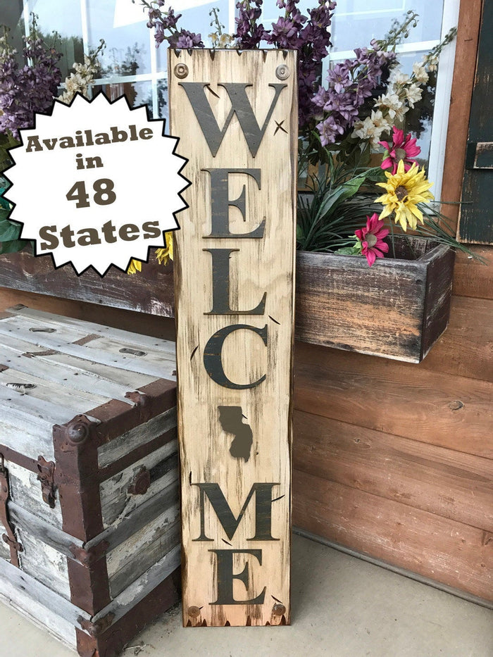 NEW NEW JERSEY Sign  Farm Home Lake Welcome word, Rustic Distressed Wood Nj 50 states