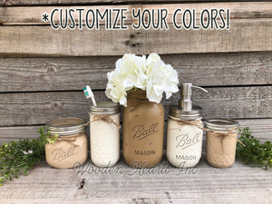 6 piece MASON Jar Bathroom Decor SET, Soap Pump Makeup Toothbrush Cotton Holder Flower - Wooden Hearts Inc