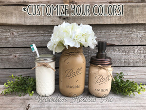 MASON Jar Bathroom 4 piece SET, Soap Pump Makeup Brush Flower Vase Toothbrush Holder Jars - Wooden Hearts Inc