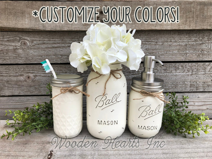 MASON Jar Bathroom 4 piece SET, Soap Pump Makeup Brush Flower Vase Toothbrush Holder Jars