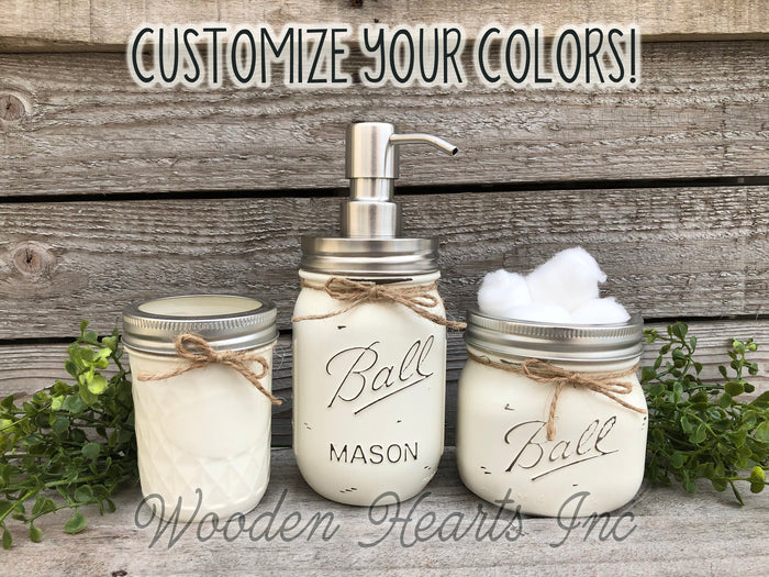 3 piece Mason JAR SET Bathroom Decor Soap Lotion Pump Makeup Brush Toothbrush Holder Ball