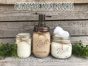 3 piece Mason JAR SET Bathroom Decor Soap Lotion Pump Makeup Brush Toothbrush Holder Ball - Wooden Hearts Inc