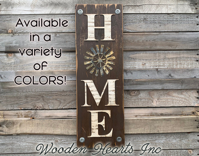 Windmill Wall Decor Sign Home Farmhouse Welcome, Rustic Distressed Wood
