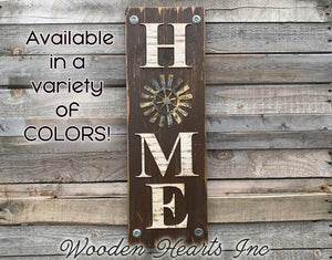 Windmill Wall  Sign Home Farmhouse Welcome, Rustic Distressed Wood - Wooden Hearts Inc